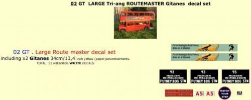 "02GT LARGE Tri-ang Triang ROUTEMASTER Bus "" GITANES "" Paper and White decal set"